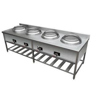 Cocina chifera de 4 wonk en acero inox