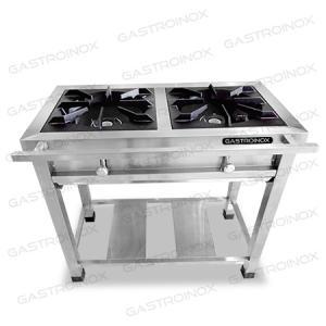 Cocina de 2 hornillas en acero inoxidable