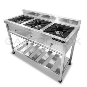 Cocina de 3 hornillas en acero inoxidable