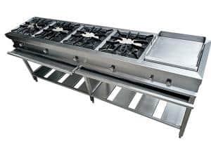 Cocina de 4 hornillas +plancha en acero inox