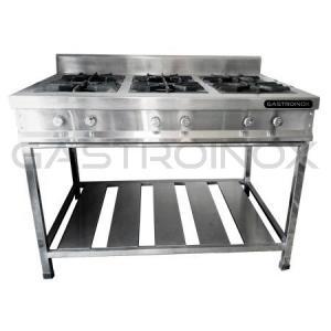 Cocina de 6 hornillas en acero inox