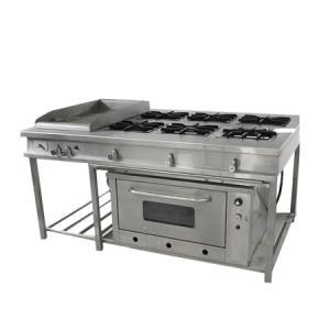 Cocina de 6 hornillas + plancha + horno industrial en acero