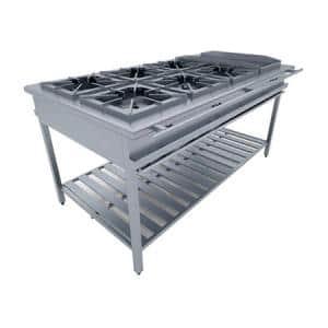Cocina de 6 hornillas - plancha en acero inox.