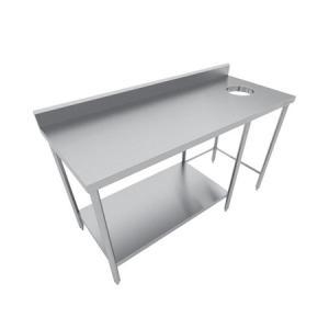 Mesa con desconche en acero inox